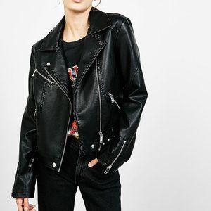 Bershka Black Faux Leather Zip Moto Jacket